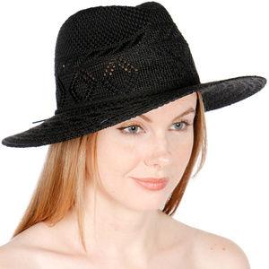 Knit panama hat w/open diamond crown & suede band